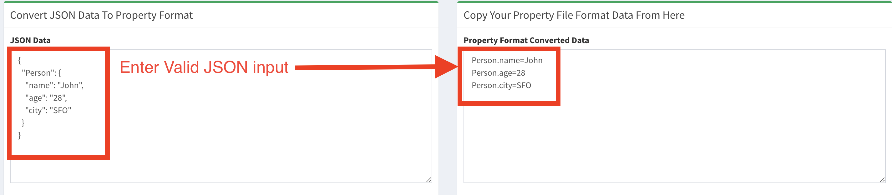 JSON to Property format converter tool