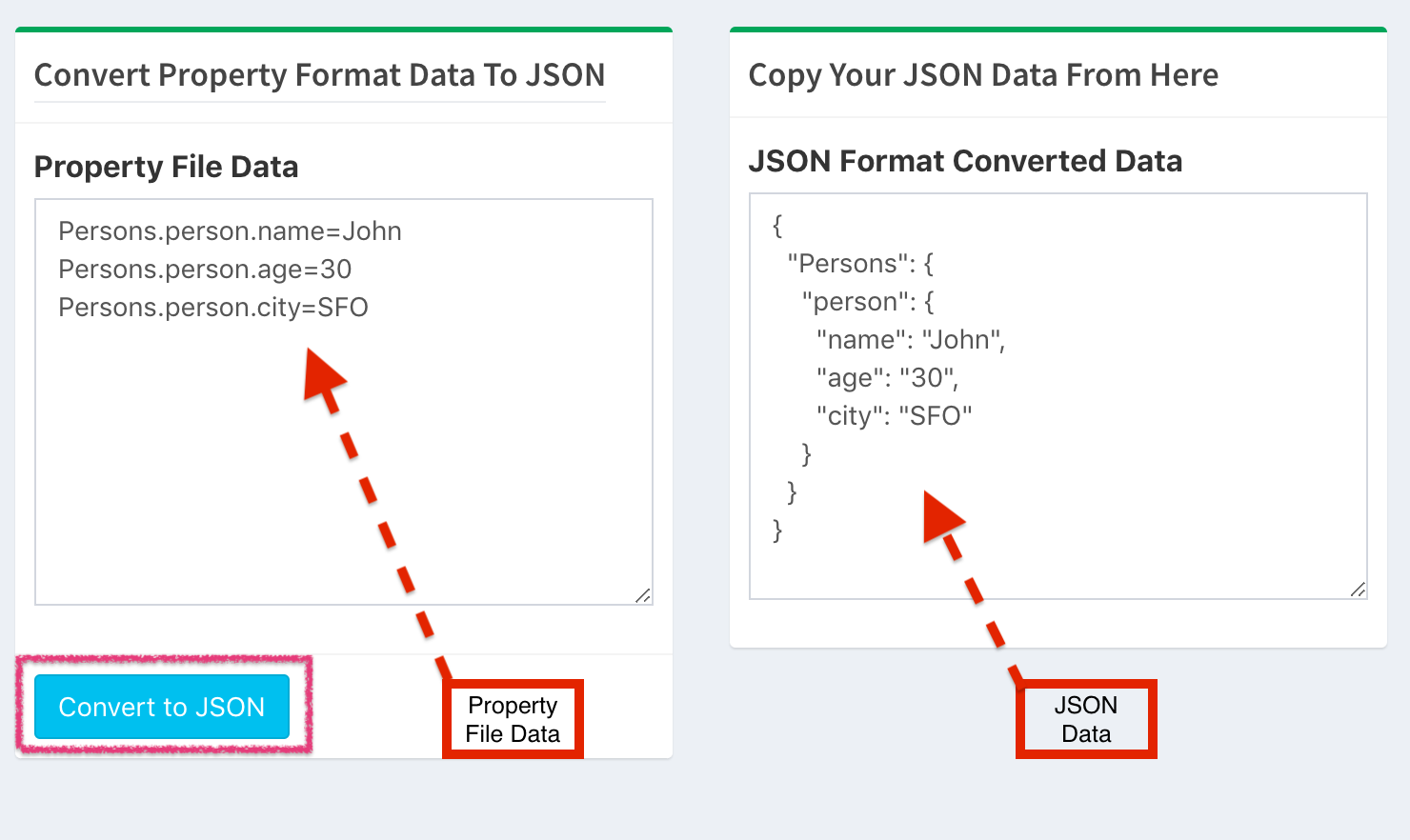 Property to JSON format converter tool